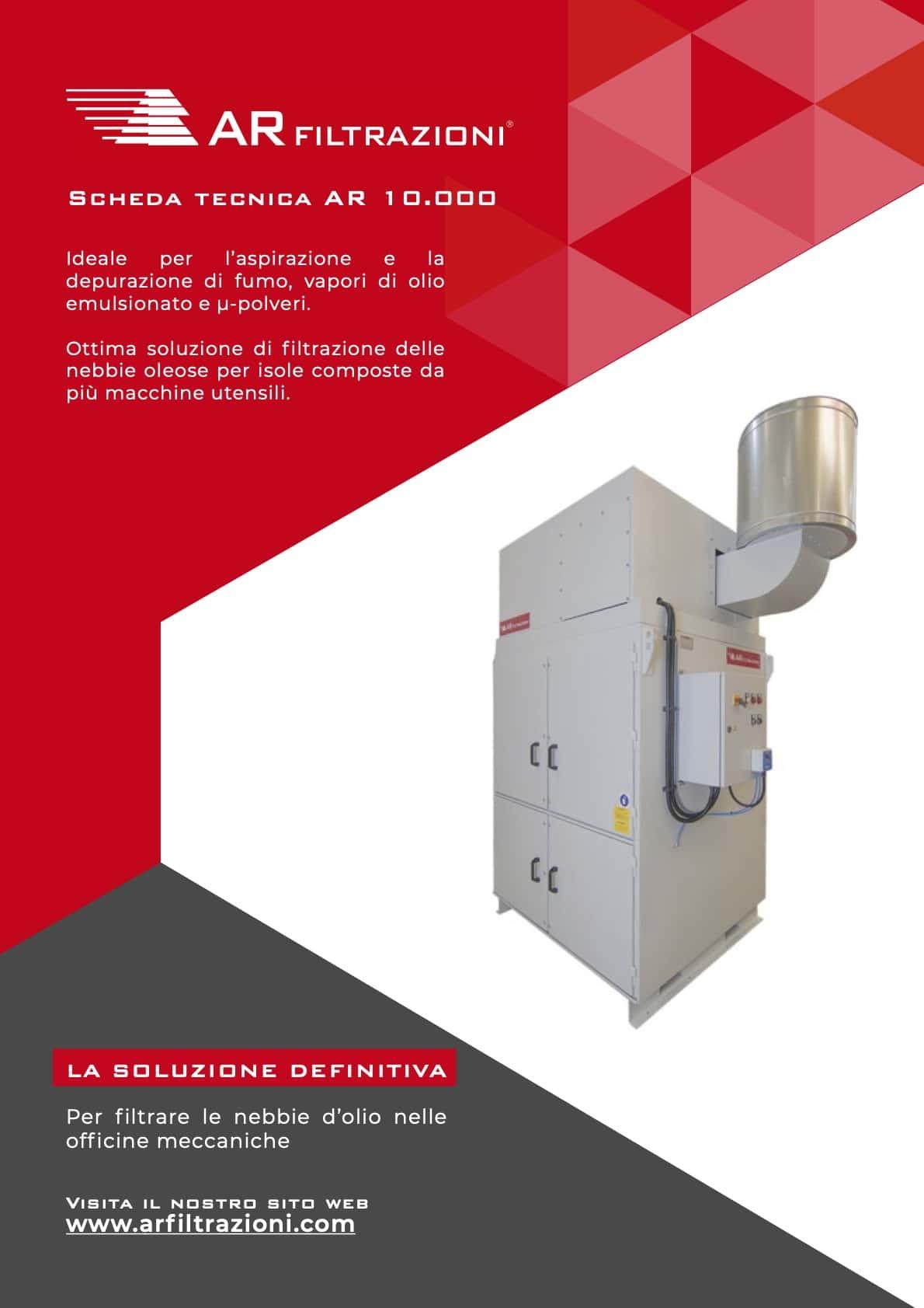 AR Filtrazioni Case History Portfolio Filtrazione Nebbie Oleose AR10000 – Aspirazione e la depurazione di nebbie d'olio generate nelle lavorazioni ad umido