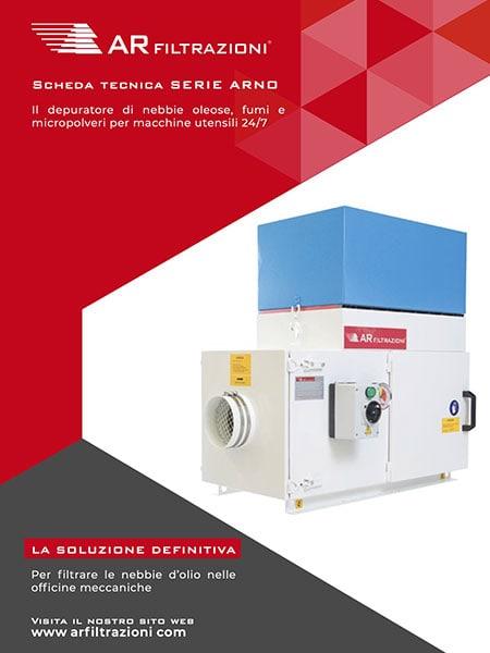 AR Filtrazioni Case History Portfolio Filtrazione Nebbie Oleose ARNO – Scheda tecnica aspirazione e depurazione industriale nebbie oleose